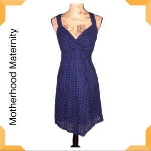 Motherhood Maternity Cross Back blue eyelet Dress